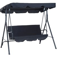 3 Seater Canopy Swing Chair Garden Rocking Bench w/ Top Roof - Black - Outsunny