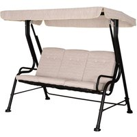 3-Seater Garden Swing Chair Metal Frame Canopy Tufted Back Beige - Outsunny