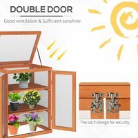 3-tier Wood Greenhouse Plant Storage Shelf Garden Cold Frame Grow House - Outsunny