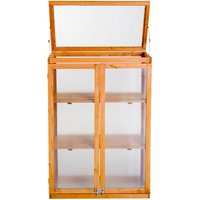 3-tier Wooden Cold Frame Greenhouse Flower Storage Shelves (76L x 47W x 110H (cm)) - Outsunny