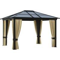 3 x 3.6m Aluminium Gazebo Canopy Hardtop Roof w/ Mesh and Side Walls - Outsunny