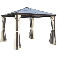 3 x 3m Garden Gazebo Outdoor PC Board Roof Canopy w/ Mosquito Net - Outsunny