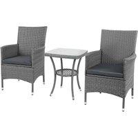3PC Rattan Bistro Set Furniture Garden Coffee Table Wicker - Grey - Outsunny