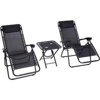 3pcs Sun Lounger Set Reclining Folding Zero Gravity Chair Table Black - Outsunny