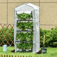 4 Tiers Mini Portable Greenhouse Plant Grow Shed Metal Frame PE Cover 160H x 70L x 50Wcm, White - Outsunny