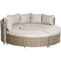 5 PCs Outdoor Rattan Lounge Chair Round Daybed Table Set w/ Cushions - Outsunny