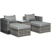 5 PCS Rattan Garden Furniture Set Single Sofa Stool Coffee Table Grey - Outsunny