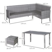 5Pcs Rattan Dining Set Sofa Table Footstool Outdoor w/ Cushion Furniture - Outsunny