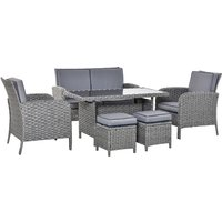 6 Pcs All Weather PE Rattan Dining Table Sofa Furniture Set w/ Cushions - Outsunny