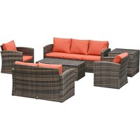 6 Pcs Rattan Outdoor Dining Lounge Set w/ Storage Table Orange Cushions - Outsunny