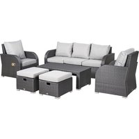 Outsunny 6 Pcs Reclining Rattan Set w/ 2 Chairs Sofas 2 Stools Table Cushions Grey