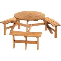Outsunny 6 Seater Fir Wood Parasol Table Bench Set Outdoor Garden Patio Dining
