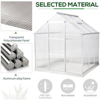 6x6ft Walk-In Greenhouse Polycarb. Panels Aluminium Frame Sliding Door - Outsunny