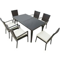 Outsunny 7PC Rattan Dining Set Tempered Glass Top Table Outdoor Conservatory - Brown