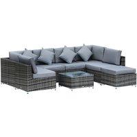 8pc Rattan Sofa Lounge Set Duluxe w/ 6 Seats Stool Table Cushions Pillows - Outsunny