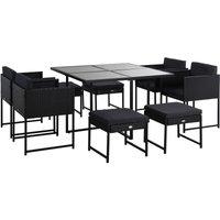 Outsunny 9 Pcs Aluminium Frame Outdoor Furniture Set PE Rattan Wicker Dining