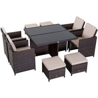 9 Pieces Rattan Dining Set Garden Furniture Cushion Seat Woven Rattan - Brown - Outsunny