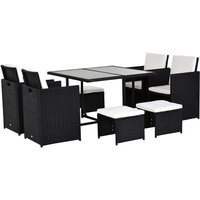 9PC Rattan Garden Furniture Outdoor Patio Dining Table Set Weave Wicker 8 Seater Stool Black - Outsunny
