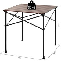 Outsunny Portable Roll-up Aluminium Folding Picnic Table BBQ Party w/ Carry Bag Dark Wood Colour