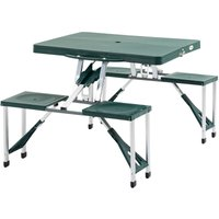 Outsunny Folding Portable Picnic Table Chair Set Camping Hiking BBQ Party - Green