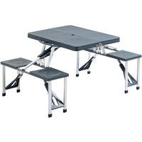 Folding Portable Picnic Table Chair Set Camping Hiking BBQ Party - Black grey - Outsunny