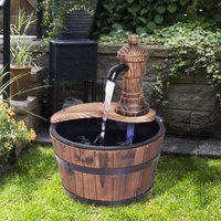 Barrel Water Fountain Rustic Wood Electric Water Feature w/ Pump Garden Outdoor - Outsunny