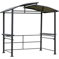 BBQ Patio Canopy Gazebo with Interlaced Polycarbonate Roof 2 Shelves - Outsunny