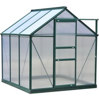 Clear Polycarbonate Greenhouse Large w/ Slide Door (6ft x 6ft) - Outsunny