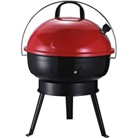 Compact Portable Lightweight Enamel BBQ Grill w/ Lid Carry Handle Red - Outsunny