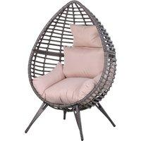 Outsunny Elegant Teardrop Garden Chair PE Rattan w/ Cushion 4 Legs Steel Frame