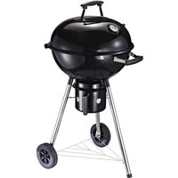 Freestanding Charcoal BBQ Grill Portable Cooker w/ Wheels Storage Shelves - Outsunny