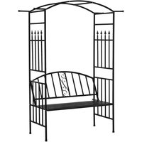 Garden Metal Arch Bench 2-Seater Outdoor Trellis Arbour Elegant Black - Outsunny