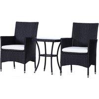 Garden Outdoor Rattan Furniture Bistro Set 3 PCs Patio Weave Companion Chair Table Set Conservatory (Black) - Outsunny