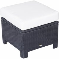 Outsunny Garden Patio Rattan Furniture Outdoor Wicker Ottoman Foot Stool Rest (Cushioned - Black)