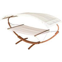 Patio Wooden Double Hammock Swing Sun Roof Bed w/ Arc Frame Stand - Outsunny