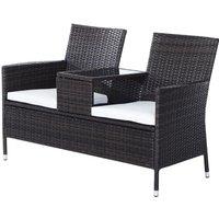 Garden Rattan 2 Seater Companion Bench w/ Cushions Patio Furniture - Brown - Outsunny