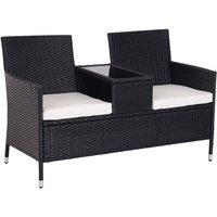 Outsunny Garden Rattan 2 Seater Companion Bench w/ Cushions Patio Furniture - Black