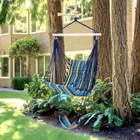 Outsunny Hammock Swing Chair Hanging Striped Seat w/ Foot Rest Outdoor Garden
