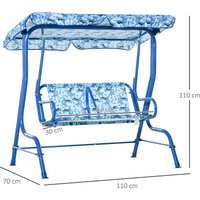 Kids 2-Seat Garden Swing Chair Toddler Outdoor Lounger w/ Awning Blue - Outsunny