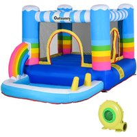 Kids Rainbow Bouncy Castle Inflatable House 2 in 1 w/ Pump Fun Outdoor - Outsunny