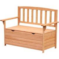 Outdoor Garden Bench w/ Storage Fir Wood Patio Outdoor