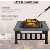 Metal Fire Pit Outdoor Backyard Square Stove Wood Burning Heater Brazier - Outsunny