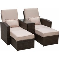 Outsunny Garden Rattan Companion Sofa Chair and Stool Lounger Recliner Sunbed Furniture Set (Brown)