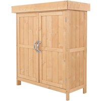 Outsunny Outdoor Garden Storage Shed Wooden Chest with Shelf Hinged Roof - Burlywood