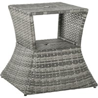 Outsunny PE Rattan Outdoor Patio Coffee Side Table w/ Umbrella Hole Storage Grey