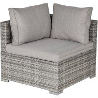 PE Rattan Wicker Corner Sofa Chair Garden Furniture w/ Cushion Grey - Outsunny