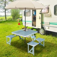 Outsunny Portable Camping Picnic Table and Chairs Set Outdoor BBQ - Aluminum