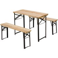 Portable Folding Camping Picnic Trestle Table and Bench Set Garden BBQ Chairs Stools Wooden Wood (120cm(L) x 25cm(W) x 46cm(H)) - Outsunny