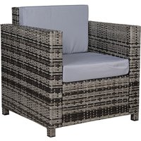 Rattan Armchair w/ Padded Cushion Outdoor Garden Seat Wicker Grey - Outsunny