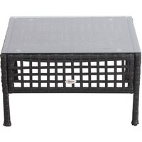 Rattan Coffee End Table Garden Outdoor Furniture Square Wicker w/ Glass - Outsunny